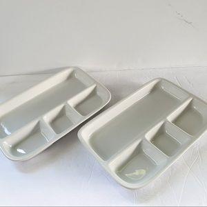 Crate & Barrel white ceramic serving trays